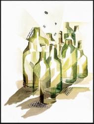 <p>Morgonflaskor - akvarell och tidningsurklipp på akvarellpapper, 27 x 21 cm. 2010.</p>