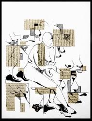 <p>Krokitant - tusch och tidningsurklipp på akvarellpapper, 29 x 21 cm. 2011.</p>