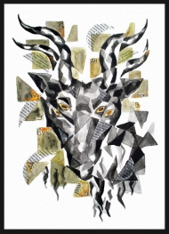 <p>Getus - akvarell, guldfärg och tidningsurklipp på akvarellpapper, 22 x 32 cm. 2011.</p>