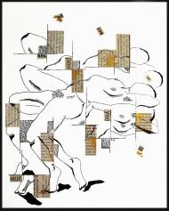 <p>Tusenfoting - tusch, guldfärg och tidningsurklipp på akvarellpapper, 29 x 21 cm. 2011.</p>