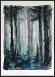 <p>Mitt i skogen (350 kr) - akvarell på akvarellpapper, 28 x 21 cm. 2013.</p>