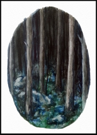 <p>Mörk skog - akvarell på akvarellpapper, 29 x 42 cm. 2015. </p>