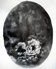 <p>Svartvita blomster (350 kr) - akvarell på akvarellpapper, 21 x 30 cm. 2017.</p>