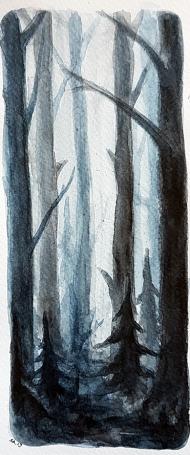 <p>Liten skog (100 kr) - akvarell på akvarellpapper, 23 x 10cm. 2013.</p>