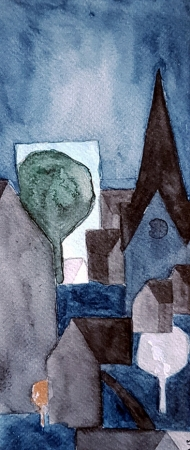 <p>Liten Avesta (60 kr) - akvarell på akvarellpapper, 23 x 10cm. 2013.</p>